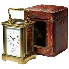 Fine Brass Corniche Case Carriage Clock with Alarm and Original Travelling Case