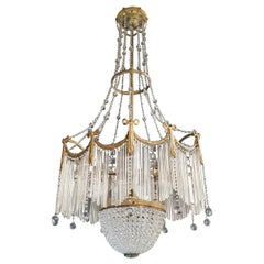 Fine Brass Crystal Chandelier Antique Ceiling Lamp Lustre Art Nouveau Lamp, 1900