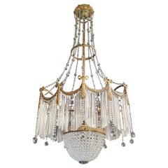 Fine Brass Crystal Chandelier Antique Ceiling Lamp Lustre Art Nouveau Lamp, 1900
