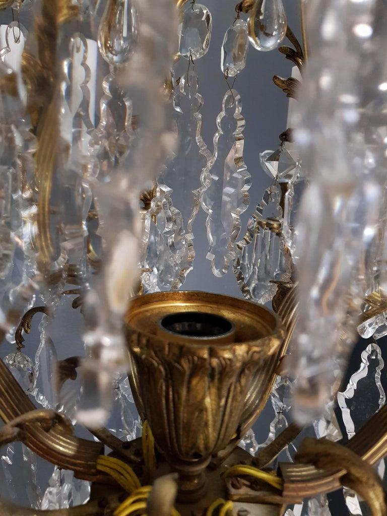 Fine Brass Crystal Chandelier Antique Ceiling Lamp Lustre Art Nouveau Lamp, 1920 10