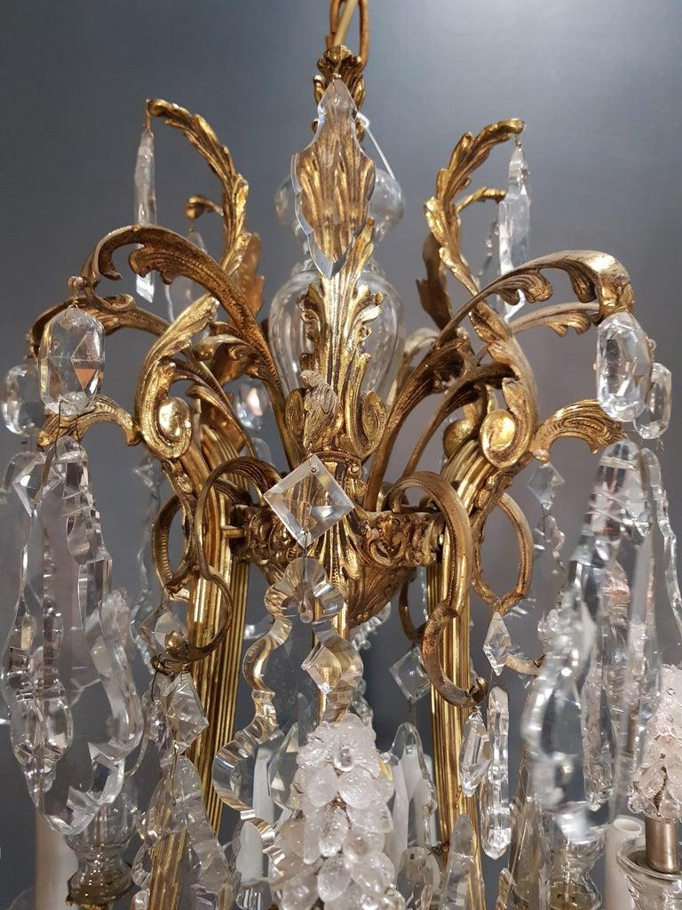 Fine Brass Crystal Chandelier Antique Ceiling Lamp Lustre Art Nouveau Lamp, 1920 11