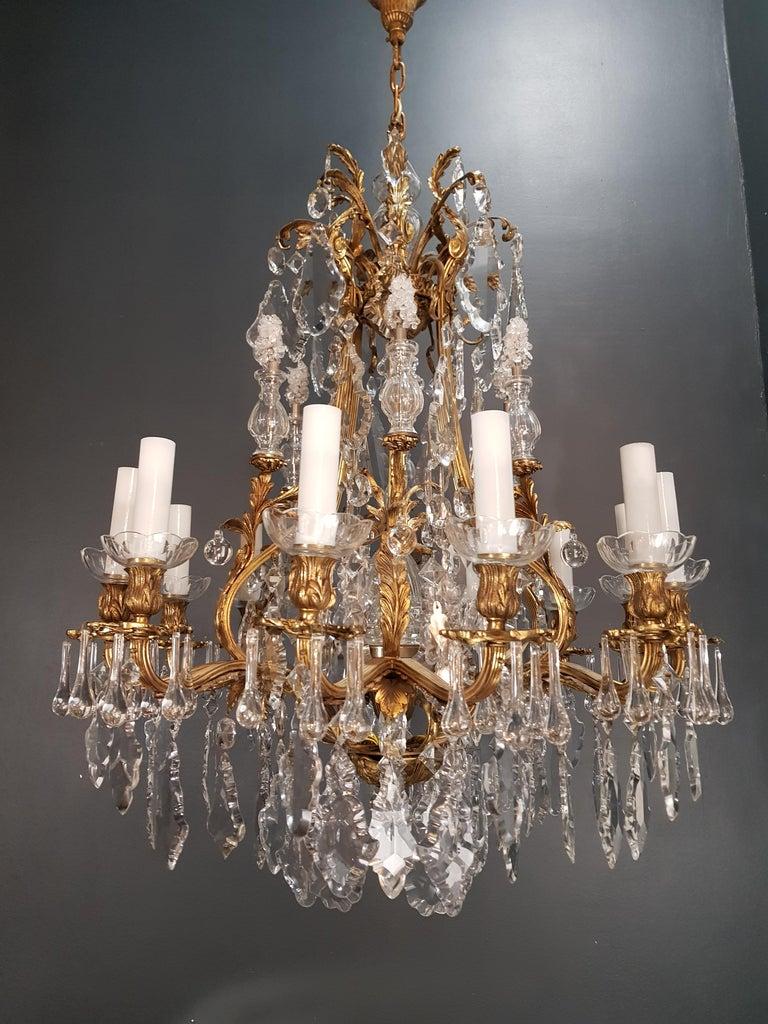 Fine Brass Crystal Chandelier Antique Ceiling Lamp Lustre Art Nouveau Lamp, 1920 12