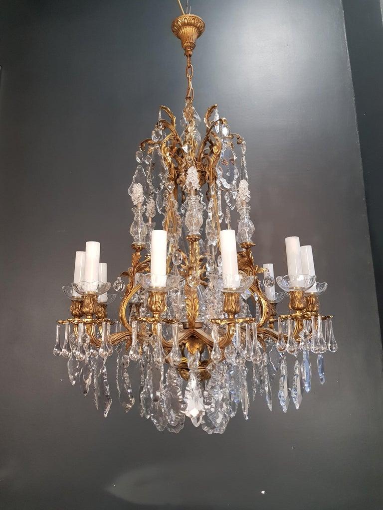 Fine Brass Crystal Chandelier Antique Ceiling Lamp Lustre Art Nouveau Lamp, 1920 2