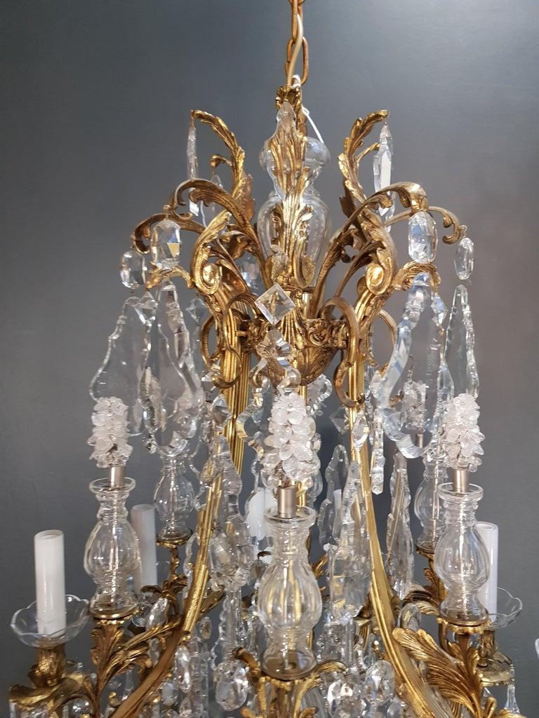 Fine Brass Crystal Chandelier Antique Ceiling Lamp Lustre Art Nouveau Lamp, 1920 3