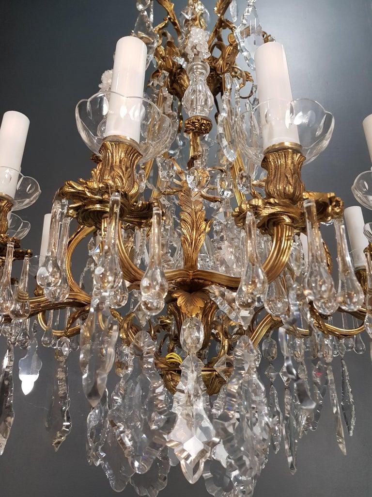 Fine Brass Crystal Chandelier Antique Ceiling Lamp Lustre Art Nouveau Lamp, 1920 4
