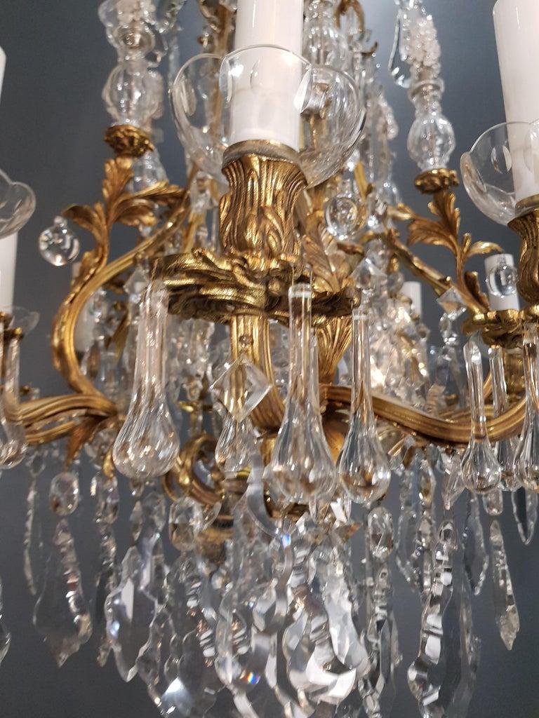 Fine Brass Crystal Chandelier Antique Ceiling Lamp Lustre Art Nouveau Lamp, 1920 5
