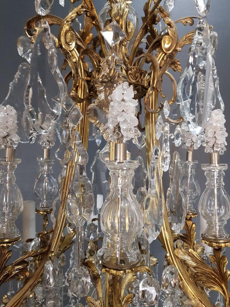 Fine Brass Crystal Chandelier Antique Ceiling Lamp Lustre Art Nouveau Lamp, 1920 6