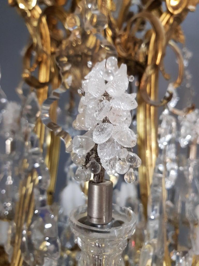 Fine Brass Crystal Chandelier Antique Ceiling Lamp Lustre Art Nouveau Lamp, 1920 7