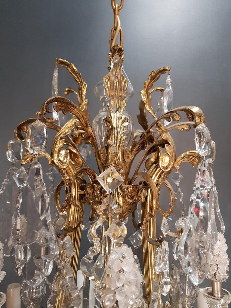 Fine Brass Crystal Chandelier Antique Ceiling Lamp Lustre Art Nouveau Lamp, 1920 8