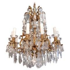 Fine Brass Kristall Chandelier Antique Ceiling Lampe Lustre Kunst Nouveau Lampe, 1920