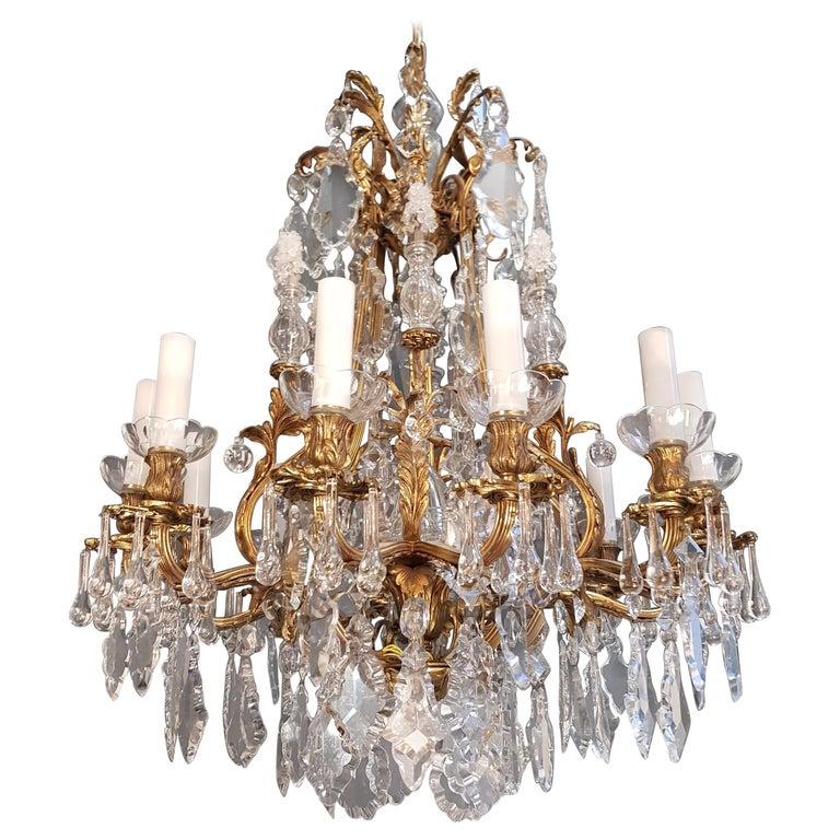 Fine Brass Crystal Chandelier Antique Ceiling Lamp Lustre Art Nouveau Lamp, 1920 1