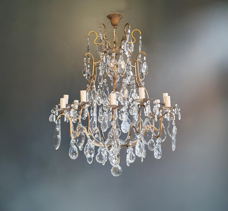 Fine brass crystal chandelier antique ceiling lamp lustre Art Nouveau lamp  Measures: Total height 90 cm, height without chain 85 cm diameter 73 cm. Weight (approximately) 15kg.  Number of lights: 12-light bulb sockets: E14 Material: Brass,