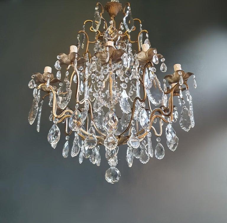 European Fine Brass Crystal Chandelier Antique Ceiling Lamp Lustre Art Nouveau Lamp For Sale