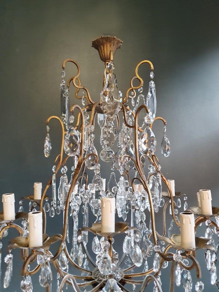 Hand-Knotted Fine Brass Crystal Chandelier Antique Ceiling Lamp Lustre Art Nouveau Lamp For Sale