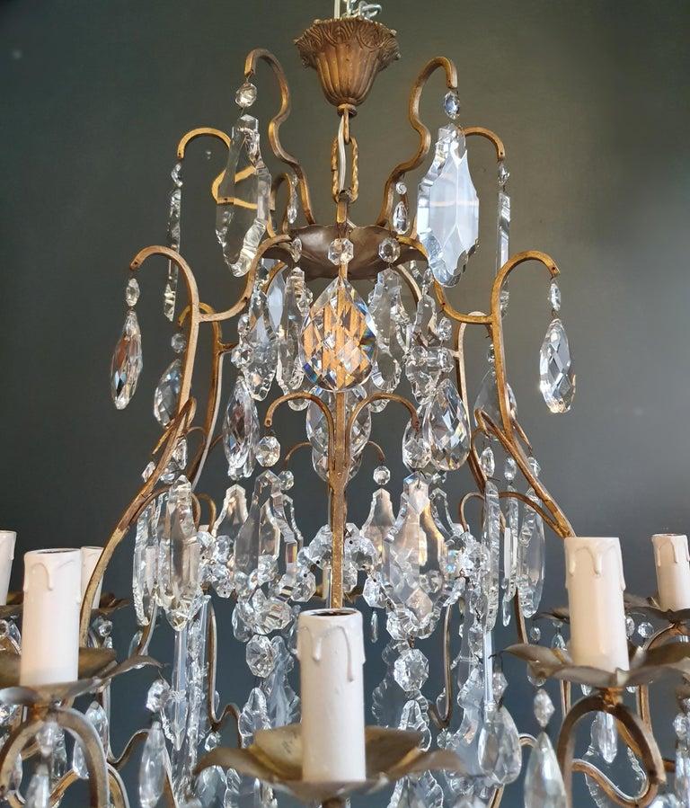 Fine Brass Crystal Chandelier Antique Ceiling Lamp Lustre Art Nouveau Lamp In Good Condition For Sale In Berlin, DE