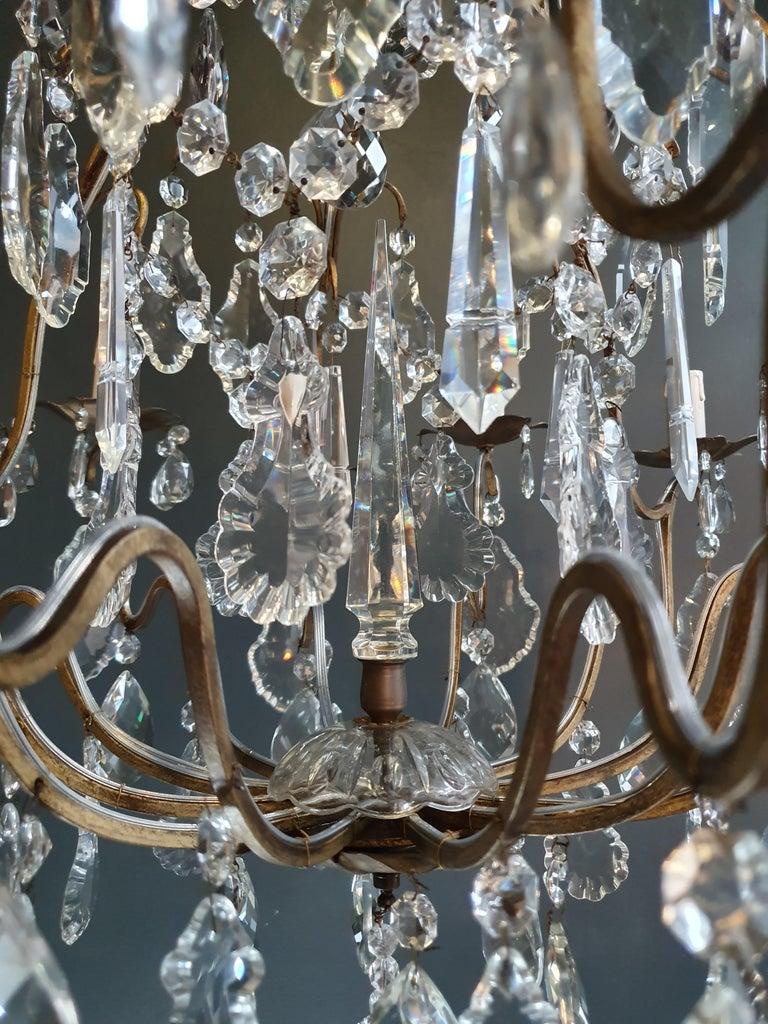 Mid-20th Century Fine Brass Crystal Chandelier Antique Ceiling Lamp Lustre Art Nouveau Lamp For Sale
