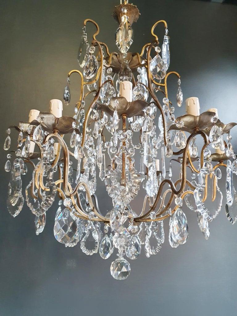 Fine Brass Crystal Chandelier Antique Ceiling Lamp Lustre Art Nouveau Lamp For Sale 1