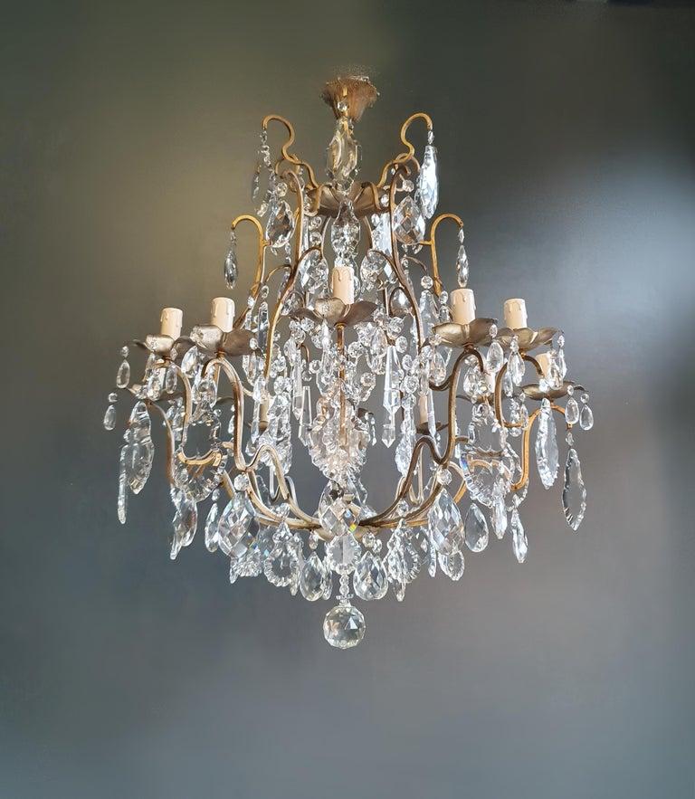 Fine Brass Crystal Chandelier Antique Ceiling Lamp Lustre Art Nouveau Lamp For Sale 2