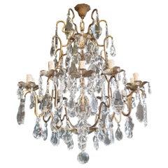 Fine Brass Crystal Chandelier Antique Ceiling Lamp Lustre Art Nouveau Lamp
