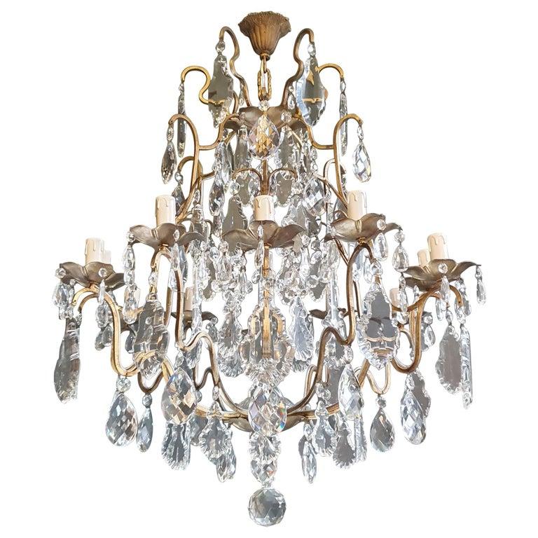 Fine Brass Crystal Chandelier Antique Ceiling Lamp Lustre Art Nouveau Lamp For Sale