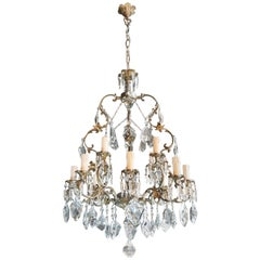 Fine Brass Crystal Chandelier Antique Ceiling Lamp Lustre Art Nouveau Lamp