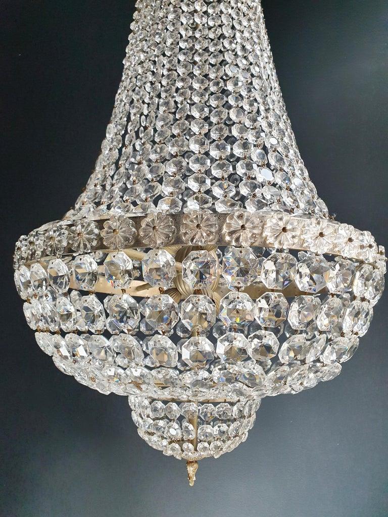 European Fine Brass Empire Chandelier Crystal Sac a Pearl Lamp Lustre Chrome Art Deco For Sale