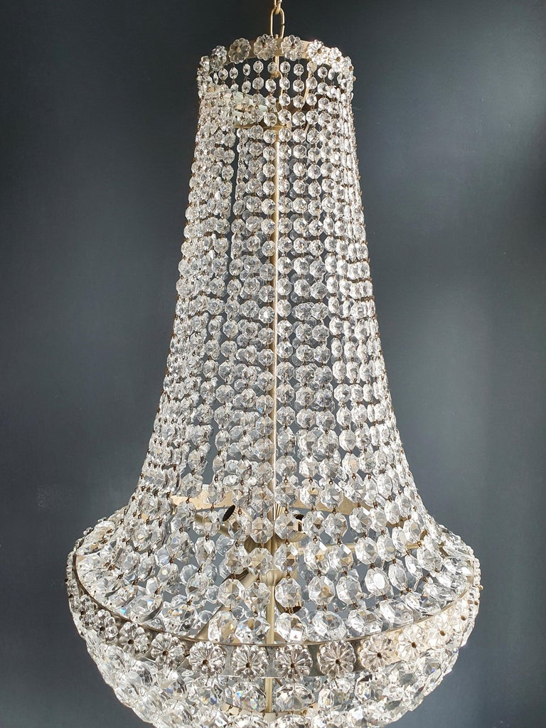 Fine Brass Empire Chandelier Crystal Sac a Pearl Lamp Lustre Chrome Art Deco In Good Condition For Sale In Berlin, DE