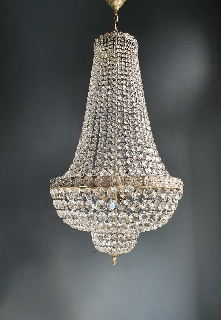 Mid-20th Century Fine Brass Empire Chandelier Crystal Sac a Pearl Lamp Lustre Chrome Art Deco For Sale