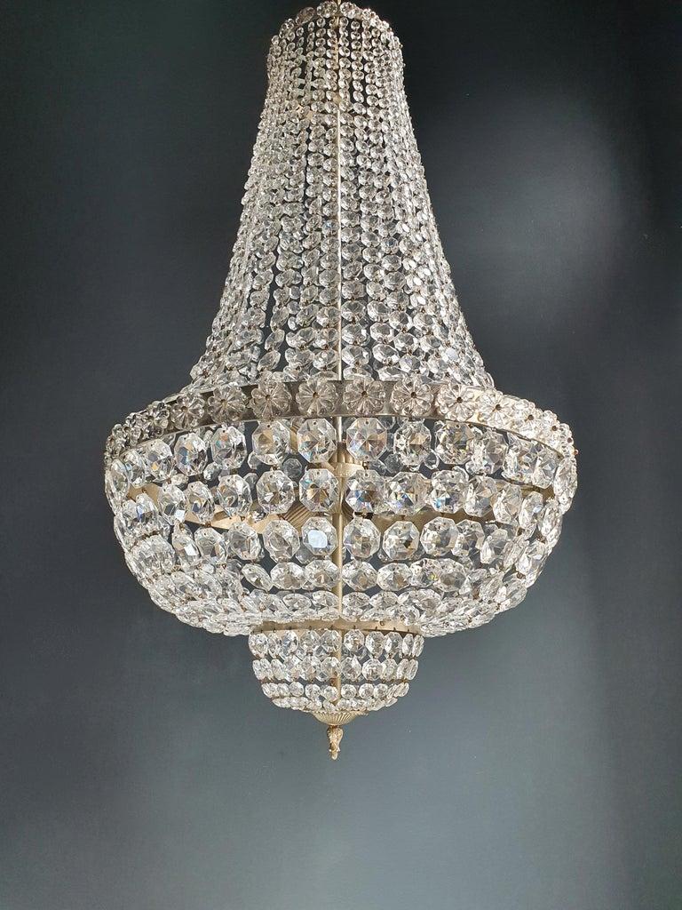 Fine Brass Empire Chandelier Crystal Sac a Pearl Lamp Lustre Chrome Art Deco For Sale 1