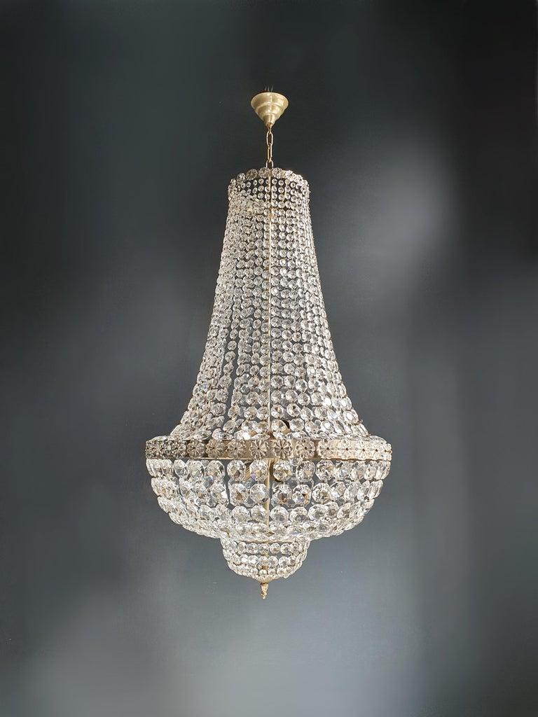 Fine Brass Empire Chandelier Crystal Sac a Pearl Lamp Lustre Chrome Art Deco For Sale 2