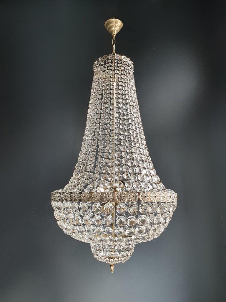 Fine Brass Empire Chandelier Crystal Sac a Pearl Lamp Lustre Chrome Art Deco For Sale 3