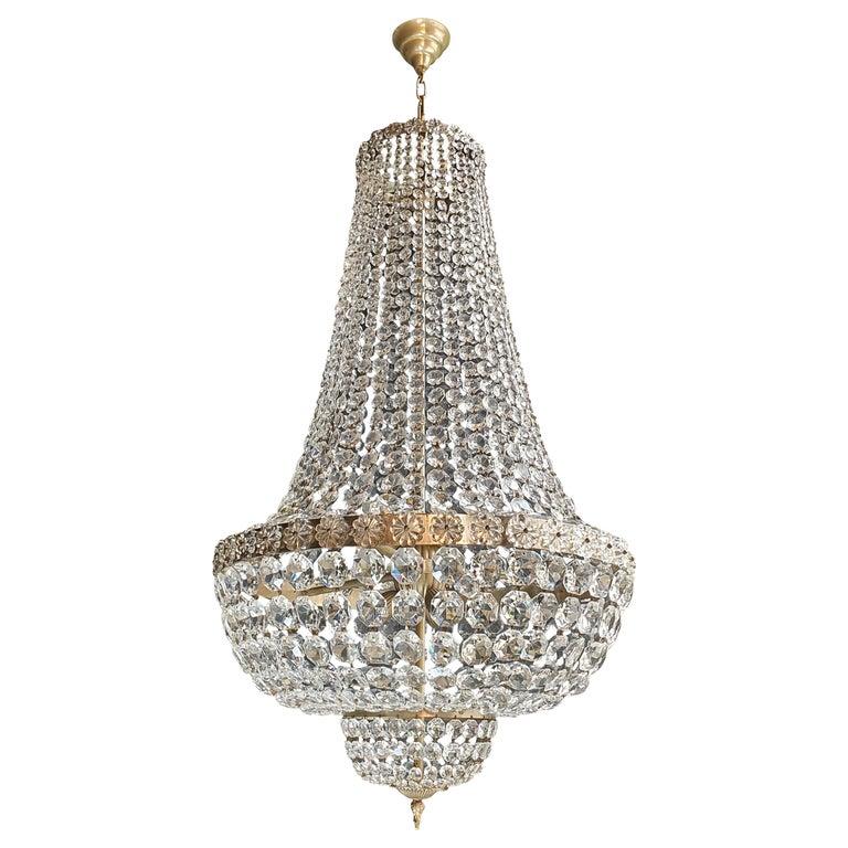 Fine Brass Empire Chandelier Crystal Sac a Pearl Lamp Lustre Chrome Art Deco For Sale