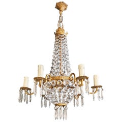 Fine Brass Empire Sac a Pearl Chandelier Crystal Luster Ceiling Lamp Antique