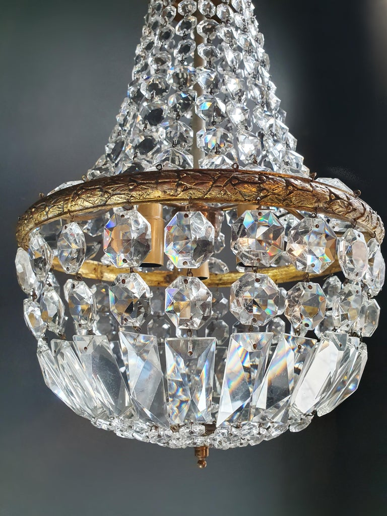 European Fine Brass Empire Sac a Pearl Chandelier Crystal Lustre Ceiling Lamp Antique For Sale