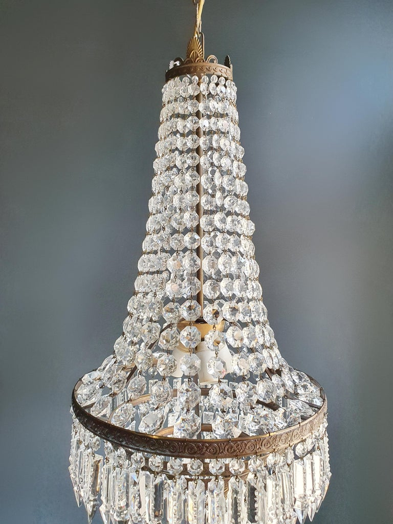 Hand-Knotted Fine Brass Empire Sac a Pearl Chandelier Crystal Lustre Ceiling Lamp Antique For Sale