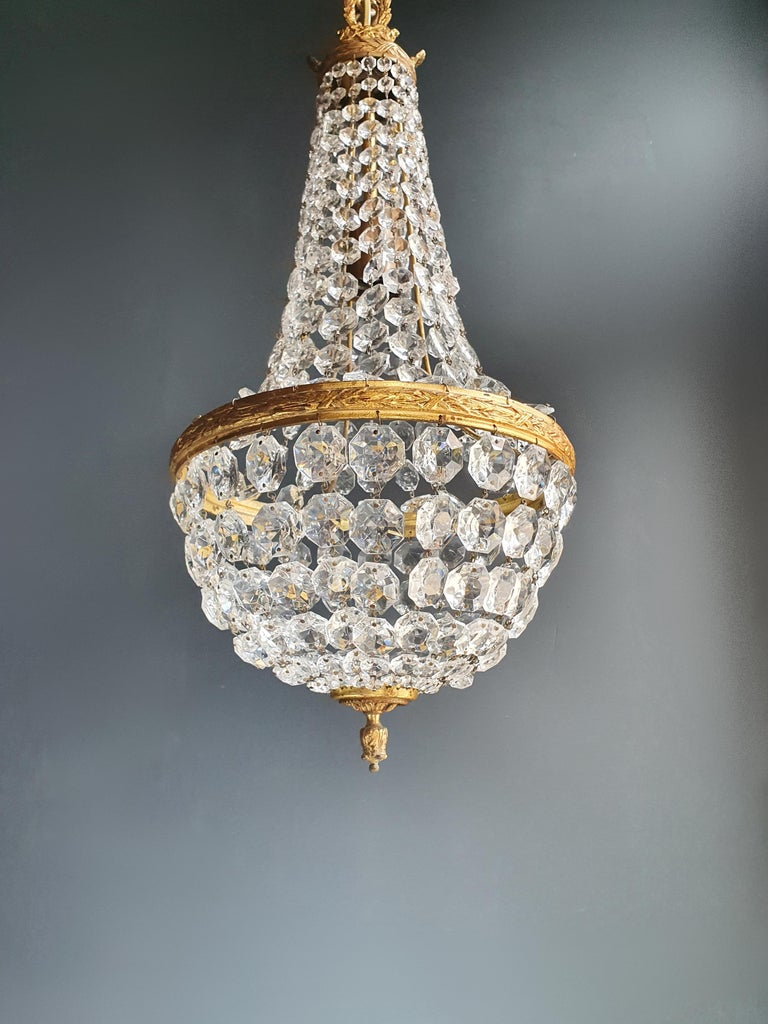 Mid-20th Century Fine Brass Empire Sac a Pearl Chandelier Crystal Lustre Ceiling Lamp Antique For Sale