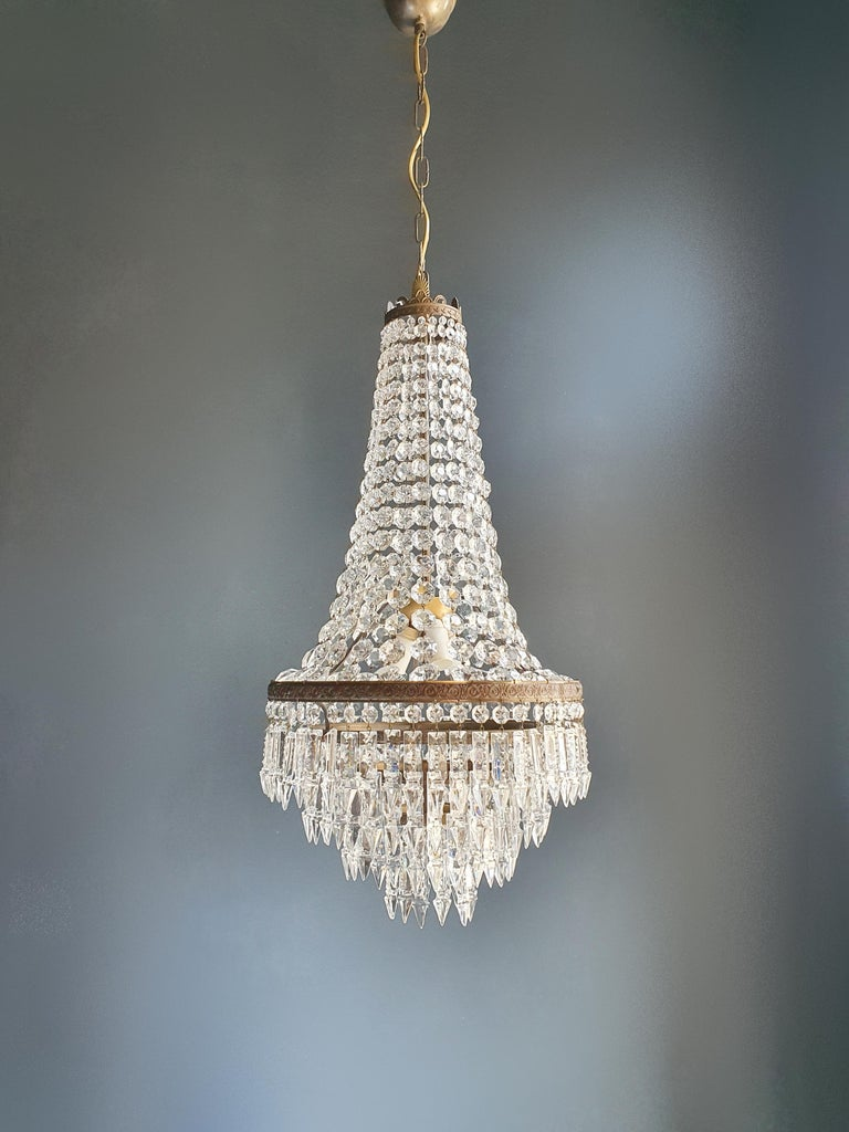 Fine Brass Empire Sac a Pearl Chandelier Crystal Lustre Ceiling Lamp Antique For Sale 1
