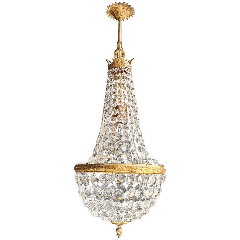 Fine Brass Empire Sac a Pearl Chandelier Crystal Lustre Ceiling Lamp Antique For Sale