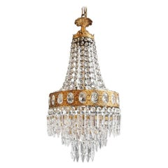 Fine Brass Empire Sac a Pearl Chandelier Crystal Lustre Ceiling Lamp Antique