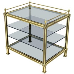 Fine Brass Smoked Glass Magazine Rack Stand Paper Tray with Gallery