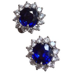 Fine Brilliant Cut Blue Sapphire and Diamond Earrings in Platinum