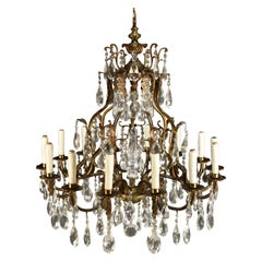 Fine Bronze and Cut Crystal Chandelier in the Louis XV Style