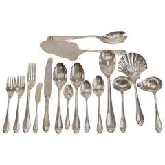 Fine Buccellati Sterling Silver 7-Piece Service for 12 Flatware in French Empire