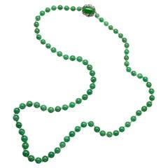 Fine Burmese Jadeite Jade Necklace Certified Untreated