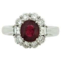 Fine Burmese Ruby Diamond Platinum Ring, GIA Certified