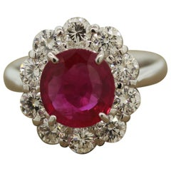 Fine Burmese Ruby Diamond Platinum Ring, GRS Certified