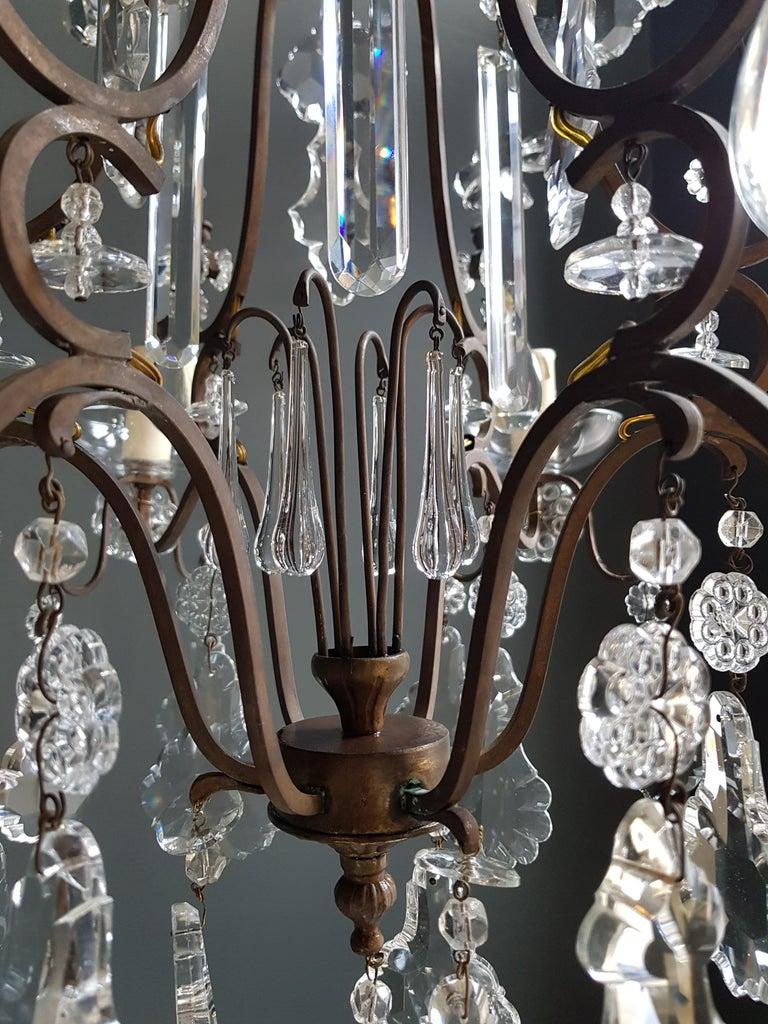 European Fine Cage Crystal Chandelier Antique Ceiling Lamp Lustre Art Deco Pendant Light For Sale