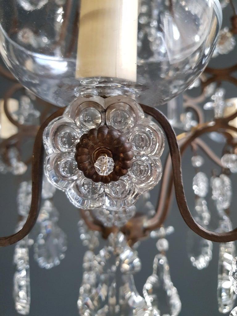 Hand-Knotted Fine Cage Crystal Chandelier Antique Ceiling Lamp Lustre Art Deco Pendant Light For Sale