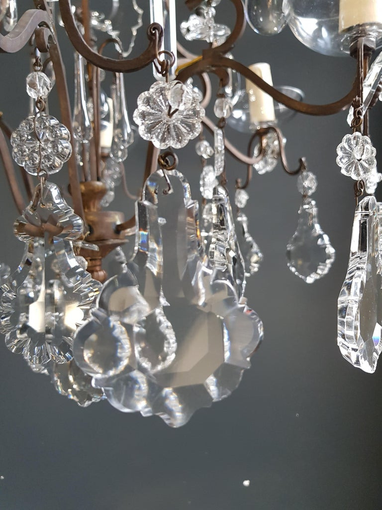 Fine Cage Crystal Chandelier Antique Ceiling Lamp Lustre Art Deco Pendant Light In Good Condition For Sale In Berlin, DE