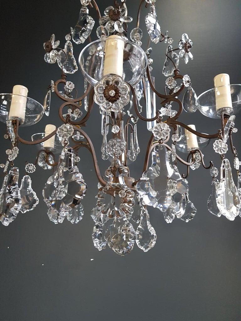 Mid-20th Century Fine Cage Crystal Chandelier Antique Ceiling Lamp Lustre Art Deco Pendant Light For Sale